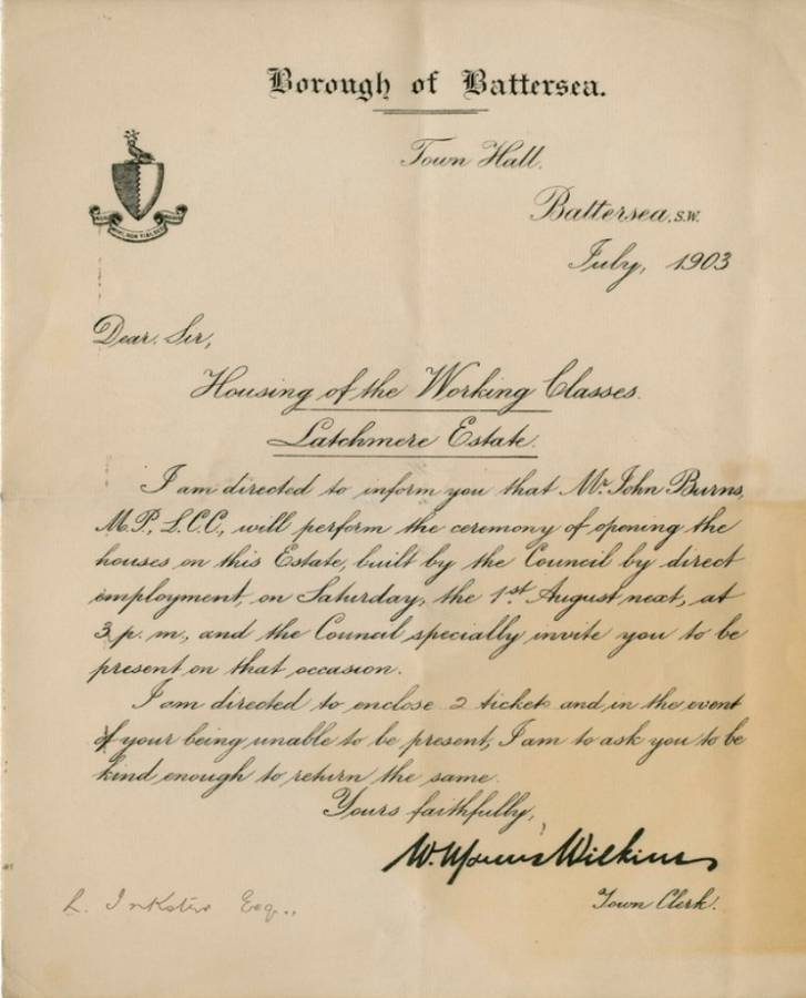 A letter from the Borough of Battersea, dated July 1903, written in calligraphy, entitled Housing of the Working Classes: Latchmere Estate