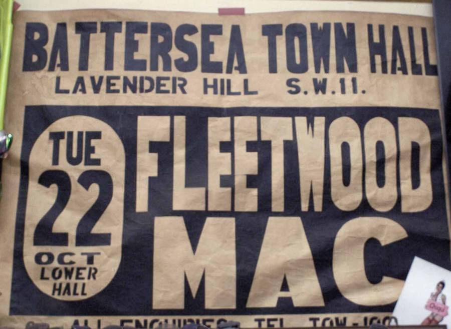 A navy blue and white poster with text reading 'Battersea Town Hall, Lavender Hill S. W. 11. Tue 22 Oct Lower Hall. Fleetwood Mac'