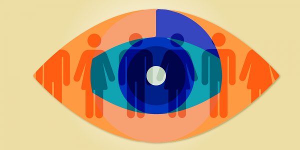 An orange, blue and turqoiuse illustration of an eye. Pale grey male and female figures are visible behind it.