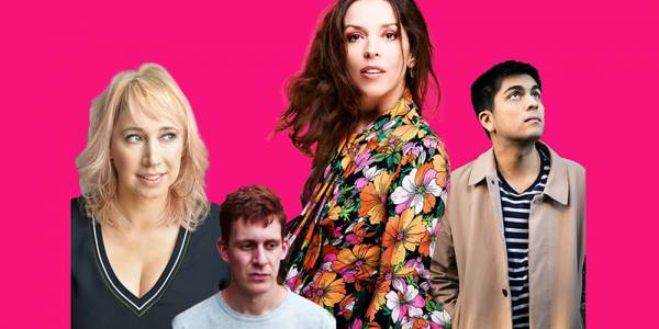 Four people cut out and pasted together in a montage against a bright pink background.