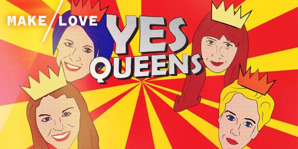 A comic strip style image. Red and Yellow striped background with YES QUEENS text central in comic strip font. The faces of performance illustrated surrounding the text.
