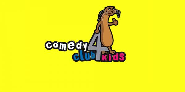 Against a bright yellow background, colourful bubble text reads: Comedy Club 4 Kids'. A cartoon beaver leans against the 4.