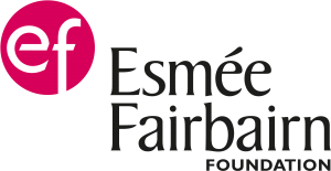 A pink circle surrounding the letters EF with black text situated to the right.