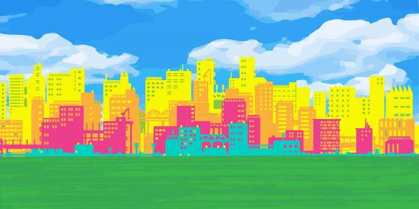 A brightly coloured city scape in blue yellow and pink sits above a green park.