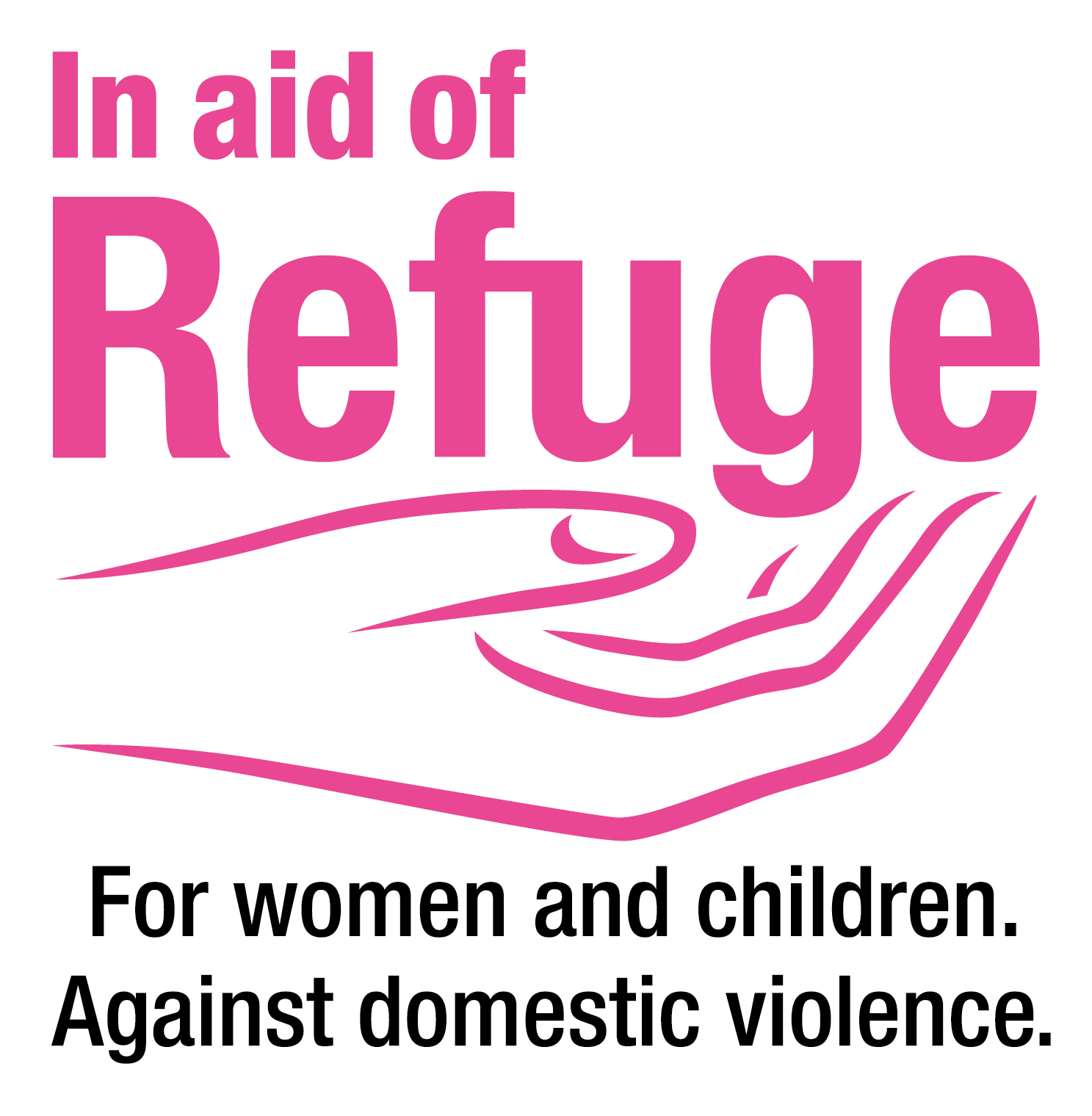 """Image of Refuge logo. A pink hand with the text """"For women and children against domestic violence"""""""