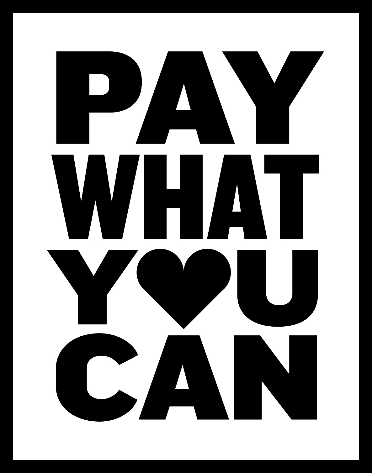 Pay What You Can Logo: Black Text on White Backdrop