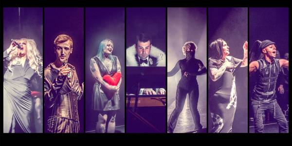 An slideshow image broken up into rectangles of performance images of the cast on stage. They are in cabaret style clothing in low lighting.
