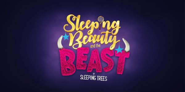 A colourful text logo. Sleeping Beauty in gold italicised lettering sits above pink furry block letters saying BEAST. There are horns on the end of the B and T.