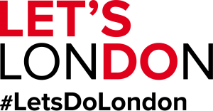 Let's London #LetsDoLondon in red and black lettering